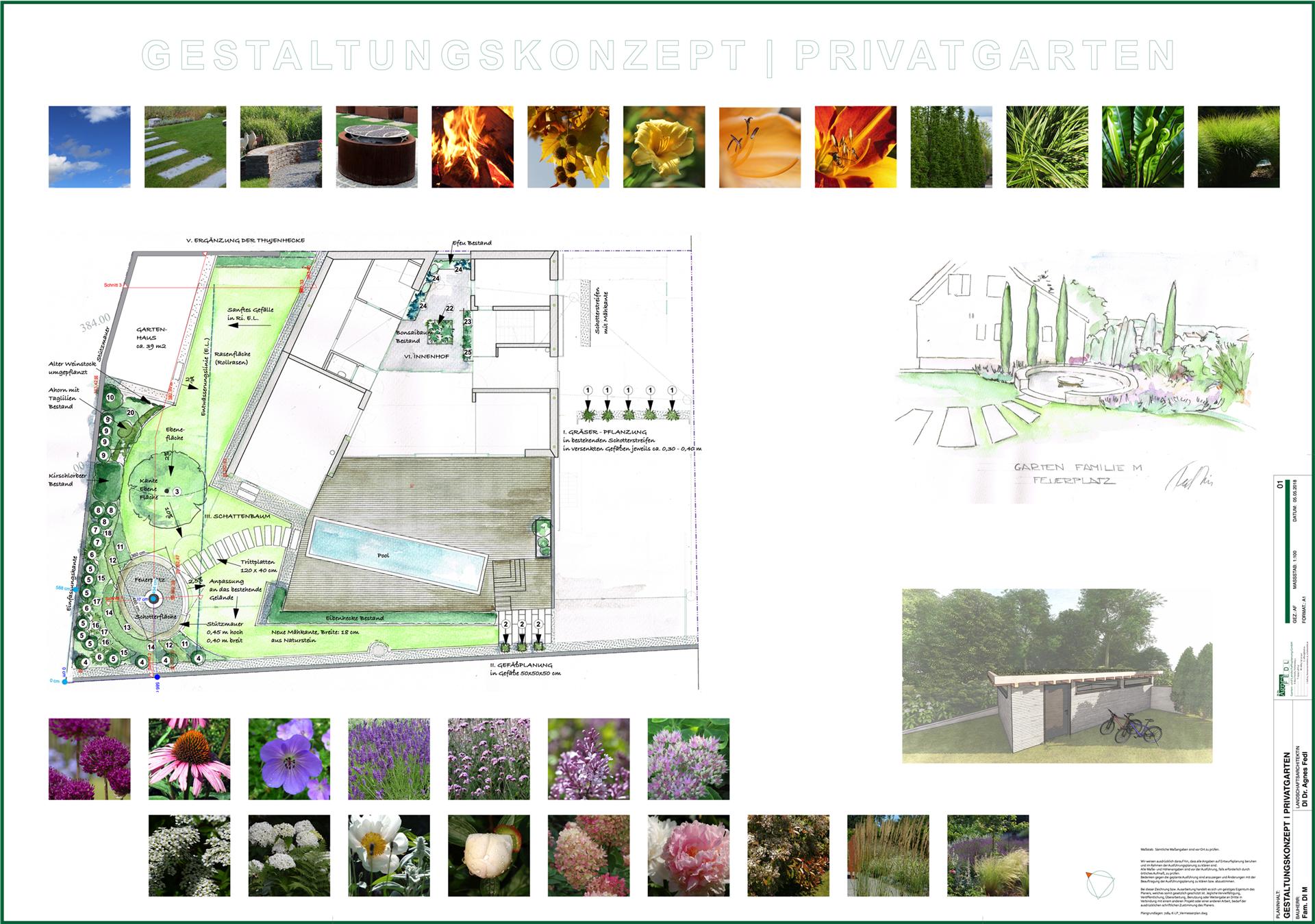gartenplan mit pool, gartenarchitektur und landschaftsarchitektur di dr. agnes fedl, Design ideen